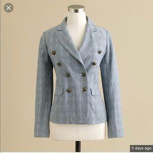 J. Crew double breasted blazer cotton linen plaid